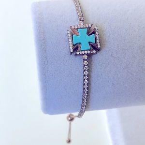 Bracelet mother of pearl blue cross cz silver